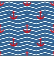 Tile sailor pattern red anchor on white and blue vector image