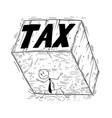 conceptual cartoon of businessman supporting big vector image
