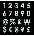 Diamond numbers and currency symbols vector image