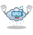 diving rain cloud character cartoon vector image