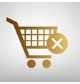 Shopping Cart and X Mark Icon vector image