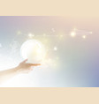 Bright light ball over human hand vector image vector image