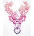 Deer head with flowers in line art style vector image