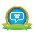 Gold telephone conversation logo vector image