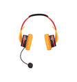 yellow wireless headset headphones with vector image