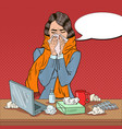 pop art business woman feeling sick at work vector image vector image