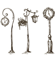 Street clocks and a lamp post hand-drawn vector image