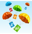 parachute with paper bag sale in the sky vector image