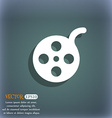 Film icon symbol on the blue-green abstract vector image