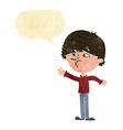 cartoon worried man reaching with speech bubble vector image