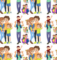 Seamless family with parents and children vector image vector image