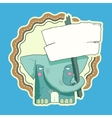 Hand Drawn Label of Character Elephant with wooden vector image