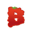 letter b strawberry font red berry lettering vector image
