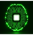 Neon brain Cpu Circuit board Abstract vector image