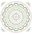 Set of decorative floral round frames and corner vector image