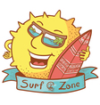 sun character with surfboard vector image
