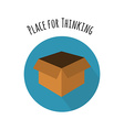 Think Outside the Box Concept Empty Box in FLat vector image