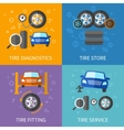 Tire service flat concepts set vector image