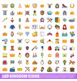 100 kingdom icons set cartoon style vector image