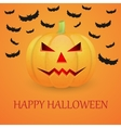 Halloween background with pumpkin and flying bat vector image vector image