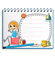A notebook and a pencil with an image of a girl vector image