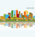 denver skyline with color buildings blue sky and vector image
