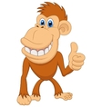 Cute monkey cartoon with thumb up vector image vector image