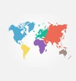 world map with continent flat color design vector image