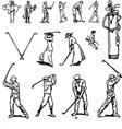 Vintage golf set vector image vector image