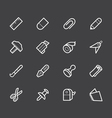 stationery white icon set on black background vector image vector image