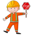 Construction worker holding stop sign vector image vector image