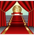 abstract of curtains red carpet on staircase with vector image