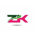 Alphabet Z and K letter logo vector image