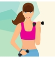 Beautiful woman exercising with two dumbbell vector image
