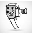 Doodle Vintage movie camera vector image