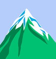 Green mountain isolated on blue background Snow vector image