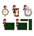 Cartoon business woman deadline set2 vector image