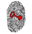 Security concept with fingerprint and key vector image vector image