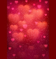 heart background with blurred bokeh hearts vector image