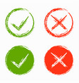 set of green and red cross vector image