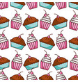 cake and cupcake bakery kitchen seamless pattern vector image