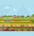 Countryside village harvest season flat vector image