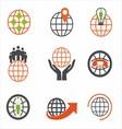 Earth Icons Set Creative Globe Elements vector image