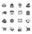 Black Online shop icons vector image
