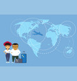 asian couple of travelers or tourists standing vector image
