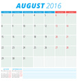 Calendar 2016 flat design template August Week vector image