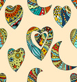 pattern of Tangle Patterns hearts and crescent vector image