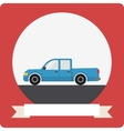 Pickup truck icon with round frame vector image