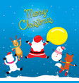 santa claus reindeer snowman and friend jumping vector image