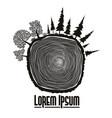 wood stump emblem tree trunk vector image
